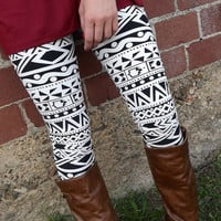 Black & White Print Legging | The Rage