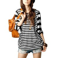 Allegra K Woman Stripes Dolman Sleeve Elastic Hem Blouse