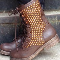 Brown & Gold Studded Combat Boots