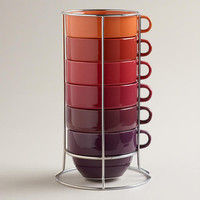 Jumbo Warm Ombre Stacking Mugs, Set of 6 | World Market