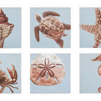 Set Of 6 Sealife Canvas | OceanStyles.com