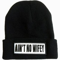 Ain't No Wifey Beanie with Black Logo Word