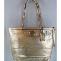 Copious: Coach Gold Leather Signature Stripe Tote Purse Bag NWT F18877 Ships Free