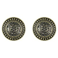 Round Post Earrings - Gold/Hematite
