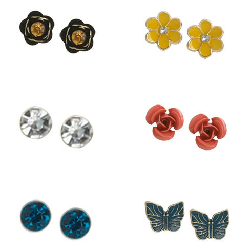 Womens - Brash - Women's (6 pk) Flower and Butterfly Stud Earring Set - Payless Shoes
