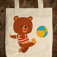 Cartoon Bear Ball Tote - Cheerful Madness!!