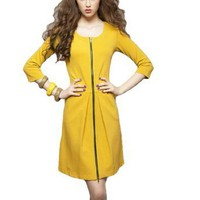 Amazon.com: Allegra K Women Zip up Yellow Scoop Neck 3/4 Sleeve Above Knee Dress S: Clothing