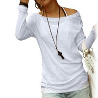 Amazon.com: Allegra K Ladies Boat Neck Long Sleeve Pullover Shirt White: Clothing