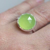 $75.00 Lime Green Chalcedony Ring Sterling Silver Ring by LuttrellStudio