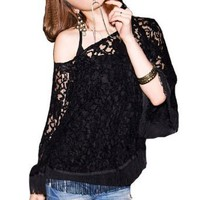 Amazon.com: Allegra K Ladies 3/4 Sleeve Boat Neck Summer Stretchy Blouse Black XS: Clothing