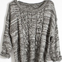 Heather High-low Cable Sweater - OASAP.com