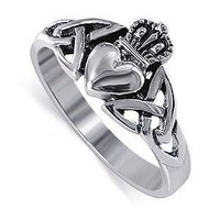 Amazon.com: LWRS043-4 Nickel Free Sterling Silver Irish Claddagh Friendship and Love Band Polished Finish Ring Size 4: Jewelry