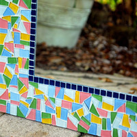 Pink, Green, Yellow, Blue Mosaic Wall Mirror, Decorative Mirror, Made to Order