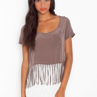 High Strung Silk Top - Mocha in Sale at Nasty Gal