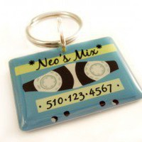Blue1980s Retro Cassette Tape Pet ID Tag - Happy Tags