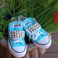 Tiffany Blue Studded Low Top Double Tongue Converse Allstars - Studded Chucks