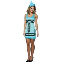 Crayola Sky Blue Crayon Tank Dress Adult Costume