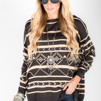 Tribal Stripe Sweater - Women's Clothing and Fashion Accessories | Bohme Boutique