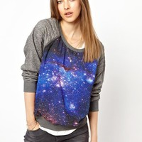 Maison Scotch Sweat with Galaxy Print Panel at asos.com