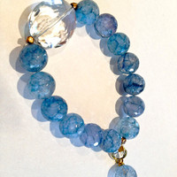 Light Blue Quartz Beaded Elastic Bracelet with by KathyHartJewels