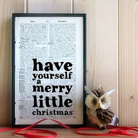 'Merry Little Christmas' Vintage Book Art