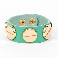 Deux Gold Screw Wrap Bracelet in Aqua :: tobi