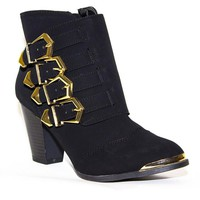 Black Suede Booties with Gold Buckle & Toe Detail