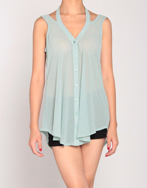 Button Up Halter Tank Blouse in Faded Mint