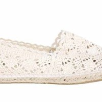 Amazon.com: Womens Beige Crochet Lace Espadrilles Ladies Shoes: Shoes