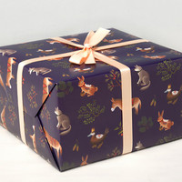 Farm Animals Wrapping Paper - Purple -
