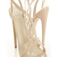 Nude Faux Patent Leather Cutout Wavy Strap Platform Heels @ Amiclubwear Heel Shoes online store sales:Stiletto Heel Shoes,High Heel Pumps,Womens High Heel Shoes,Prom Shoes,Summer Shoes,Spring Shoes,Spool Heel,Womens Dress Shoes,Prom Heels,Prom Pumps,High