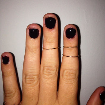 Set of 3 Gold knuckle rings Mid rings Gold by ShopElectricDesigns