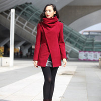 Wine Red High Collar Jacket Winter Wool Women by Sophiaclothing