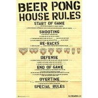 Beer Pong House Rules Art Poster Print