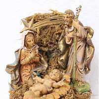 "Holy Family Nativity Figurine Made in Italy Music Original Antique Hand Painted Plays 'Silent Night"" Christmas Decor"
