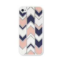 Navy Blue and Peach Herringbone Chevron iPhone 4 Case - Pink iPhone 4s Case
