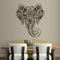 Wall Vinyl Sticker Decals Decor Art Bedroom Design Mural Ganesh Om Elephant Tatoo Head Mandala Tribal (z1960)