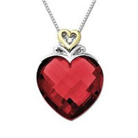 "Amazon.com: Sterling Silver and 14k Yellow Gold Created Ruby Heart Pendant, 18"": Jewelry"