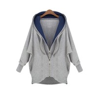 ZLYC Oversized Twin Zips Casual Hoodie for Girls
