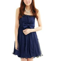 Amazon.com: Allegra K Ladies Bowknot Accent Front Strapless Mini Dress Dark Blue XS: Clothing