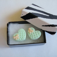 Mint cookie earrings- Heart shaped studs - Mint Green