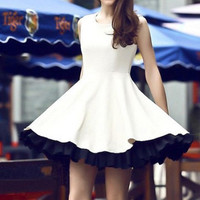 Slim short-sleeved chiffon dress BADB