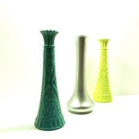 vintage vases, upcycled vases, lime green, silver, kelly green, mid century, bright colors