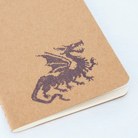 Pixel Dragon notebook, pocket cahier sketch moleskine, geek fantasy journal