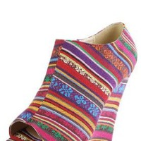 Shannon01 Peep Toe Tribal Striped Booties BLUE