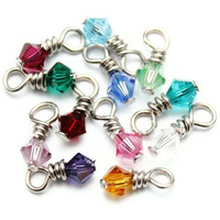 Swarovski Crystal Dangle/Drop Charms - Birthstone Set- 72 Charms - 4mm - Bicone - Wire Wrapped