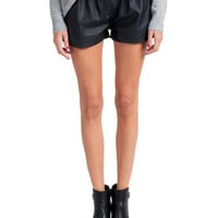 Elastic Waist Leather Shorts | 2020AVE