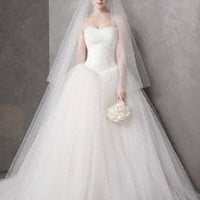 Ball Gown with Chantilly Lace Appliques at Bodice - David's Bridal