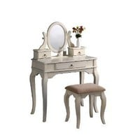 Amazon.com: Bobkona Rylan Vanity Set with Stool, Antique White: Home & Kitchen