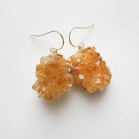 Citrine Druzy Earrings - Geode Jewelry - OOAK